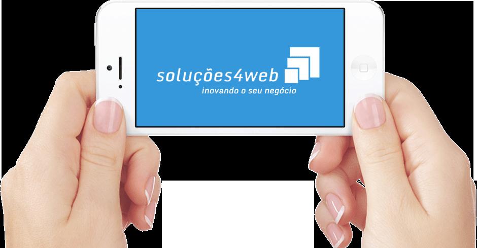 Smartphone com a Logomarca Responsiva da Soluções4web